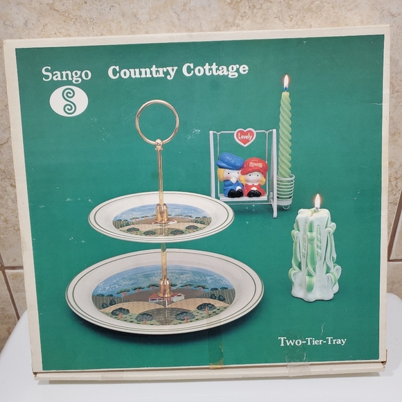 Sango 1980's Country Cottage two tier servin tray